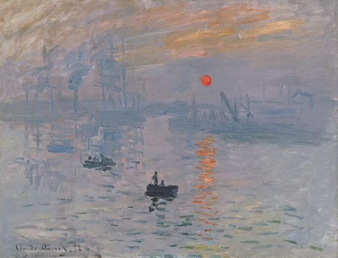 A painting of a harbor at early morning, with impressions of light on the water, a few boats and a red sun.