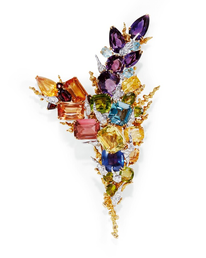 Pierre Sterlé, Sapphire and gem set brooch