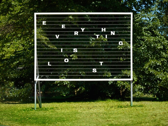 Tim Etchells, Everything is Lost, 2018, from Vitrine Gallery at Frieze Sculpture 2018