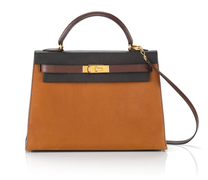 KELLY 32 TRICOLOR SELLIER EPSOM EBÈNE, GOLD AND BROWN COLOUR WITH GOLD HARDWARE. HERMÈS, 1990. Estimate £5,000-7,000