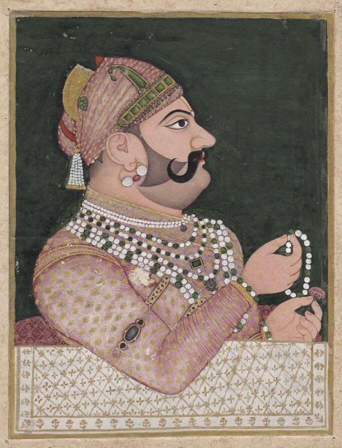 A PORTRAIT OF MAHARAJA MADHO SINGH, ATTRIBUTED TO SAHIB RAM. Estimate $8,000–12,000