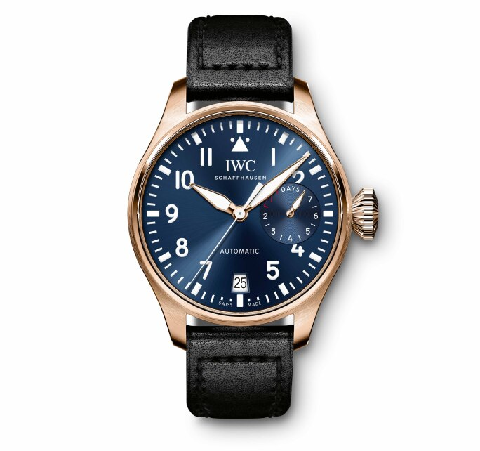 IWC SCHAFFHAUSEN | A BIG PILOT'S WRISTWATCH SINGLE PIECE IN 18-CARAT 5N GOLD WITH A SPECIAL ENGRAVING REF IW500923 CASE 6177770 (FRONT)