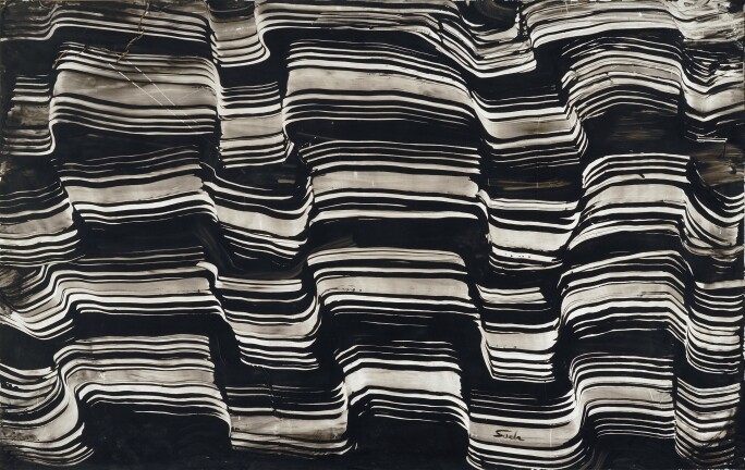 Behjat Sadr, Untitled, 1974. Oil on paper pasted on hardboard, 92 x 140 cm, Behjat Sadr Estate