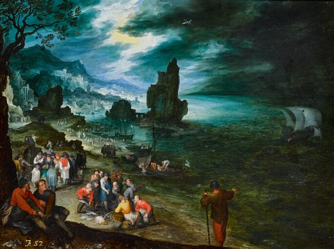 Jan Brueghel the Elder, The Sacrifice of Jonah: an extensive coastal landscape with fishermen landing and selling their catch, Jonah being cast overboard offshore. Estimate £1,800,000 – 2,500,000.