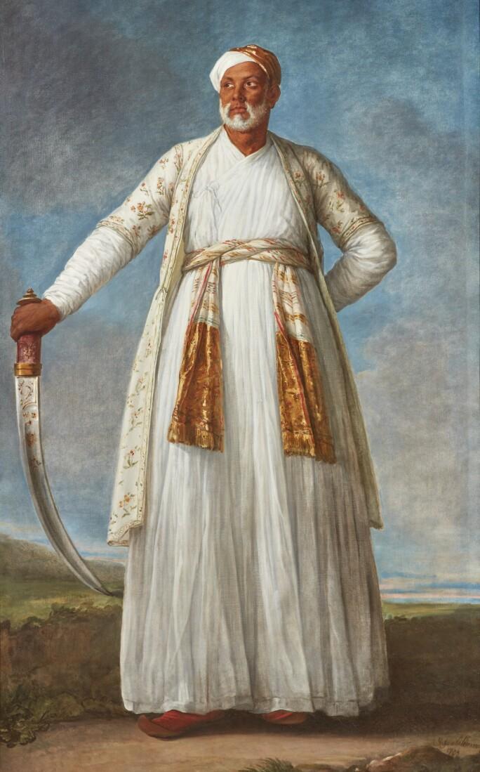 Elisabeth-Louise Vigée Le Brun, PORTRAIT OF MUHAMMAD DERVISH KHAN, FULL-LENGTH, HOLDING HIS SWORD IN A LANDSCAPE. LOT SOLD. $7,185,900