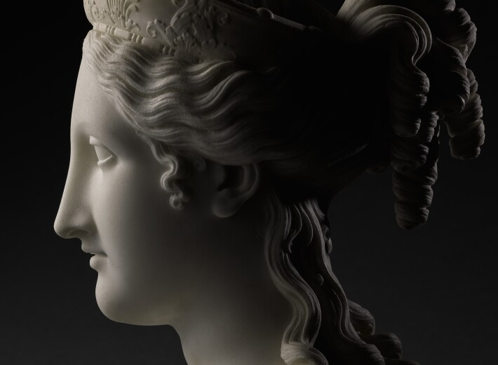 Bust of Peace by Canova in an auction selling carved marble busts
