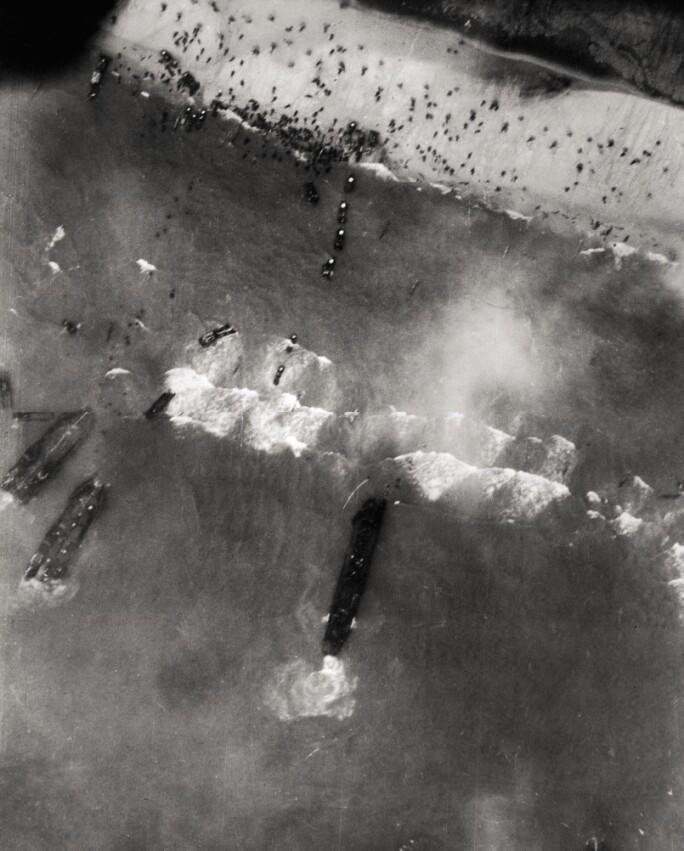 Aerial view of American troops