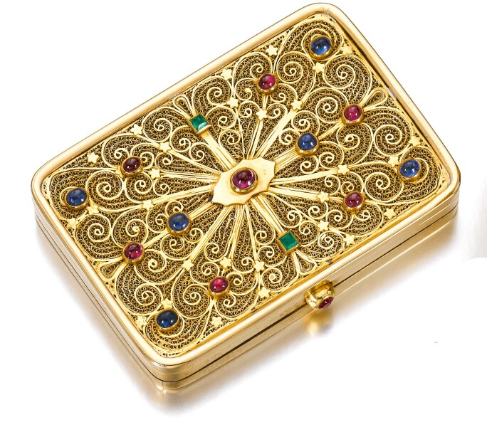 Gold and gem set powder compact,  Sterlé. Estimate CHF 8,000-12,000.