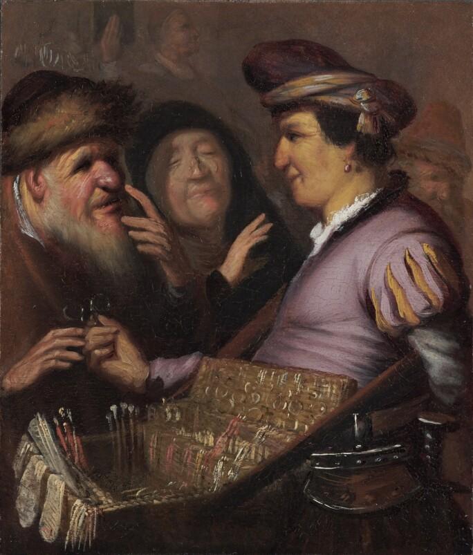 Rembrandt van Rijn, A peddler selling spectacles