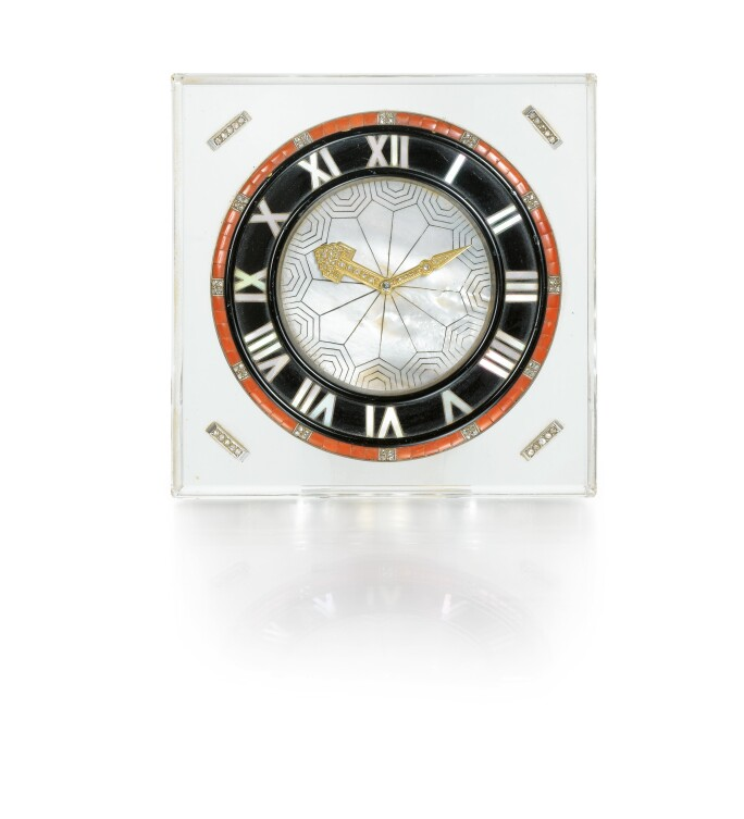 Cartier, Coral, onyx, rock crystal, mother-of-pearl and diamond desk clock