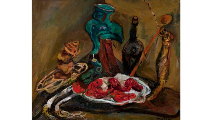 Chaim Soutine, Fish, Peppers, Onions, c. 1919, oil on canvas. Barnes Foundation, Merion and Philadelphia, Pennsylvania. Image provided by The Barnes Foundation.