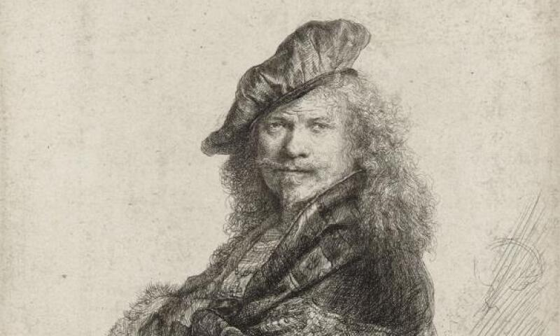 Rembrandt van Rijn, Self-Portrait Leaning on a Stone Sill, 1639, Etching, with touches of drypoint, 8.07 x 6.45 in. Bibliothèque Nationale de France. Image courtesy of BnF.