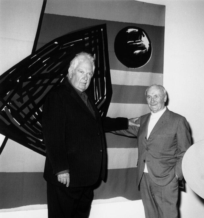Alexander Calder and Jean Miro at the opening of the retrospective of Calder at Fondation Maeght in Saint-Paul de Vence, France, 3 April 1963.