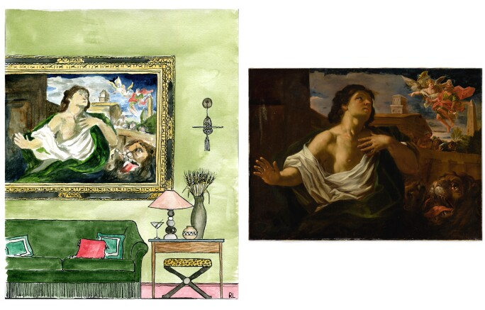 On the left, a sketch of a green living room; on the right a Baroque painting of Daniel in the lion's den.