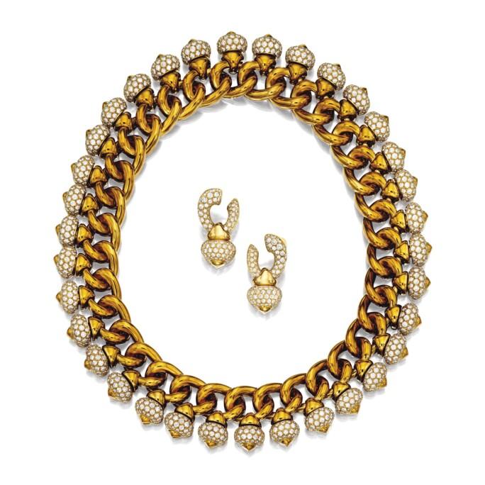 Gold and Diamond Demi-Parure, 'Pigne', Bulgari. LOT SOLD. HKD 375,000
