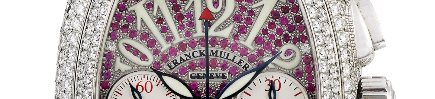 A diamond covered dial of a Franck Muller crazy hours watch in an auction selling franck muller watches