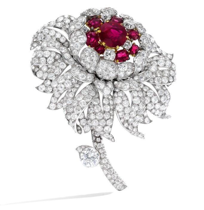 Rare and important ruby and diamond brooch, Cartier, circa 1940. Estimate CHF 400,000-600,000.