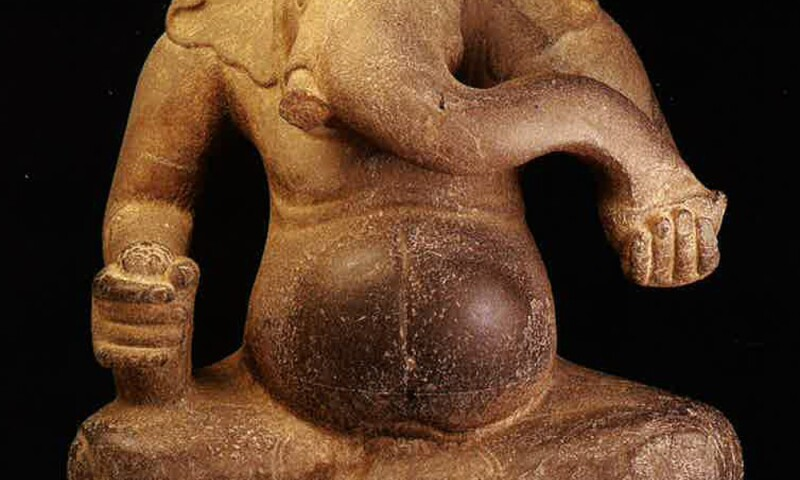 Ganesha, 600s-700s, Cambodia. Sandstone, 29 x 25 in. Lent by the National Museum of Cambodia.