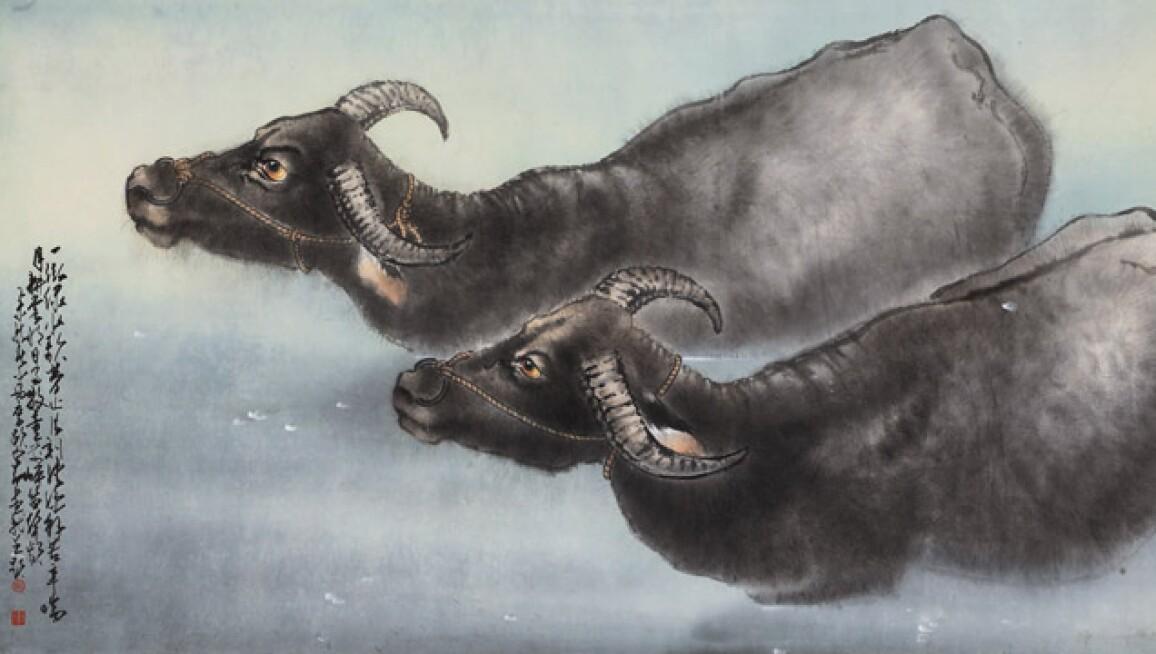 ZHAO SHAO'ANG's painting WATER BUFFALOS.