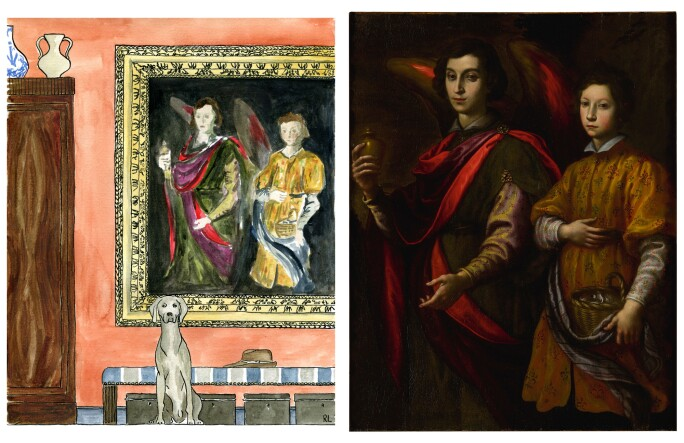 On the left, a drawing of a hallway with a painting and a dog. On the right a painting of an angel beside a young boy.
