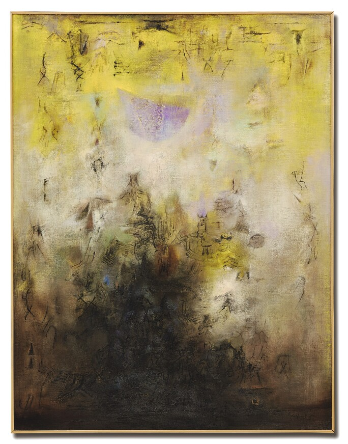 Zao-Wou-Ki abstract painting with dark black, lime green and purple passages.