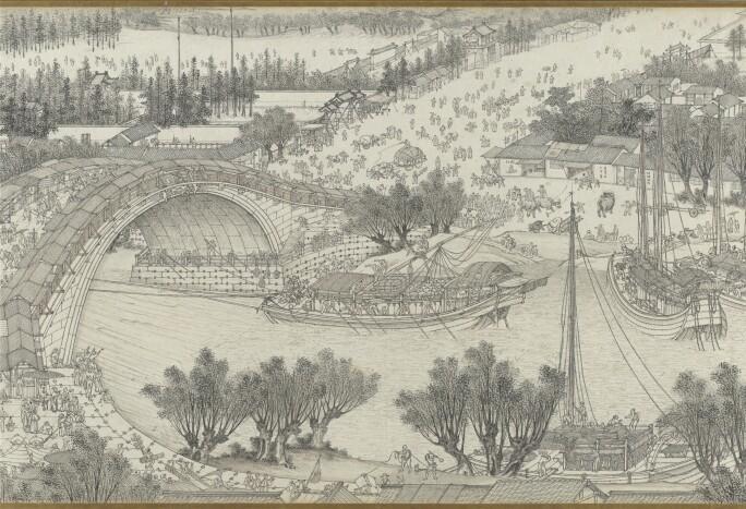Shen Yuan, Along the river during the Qingming Festival (detail), Qing dynasty 1644–1911