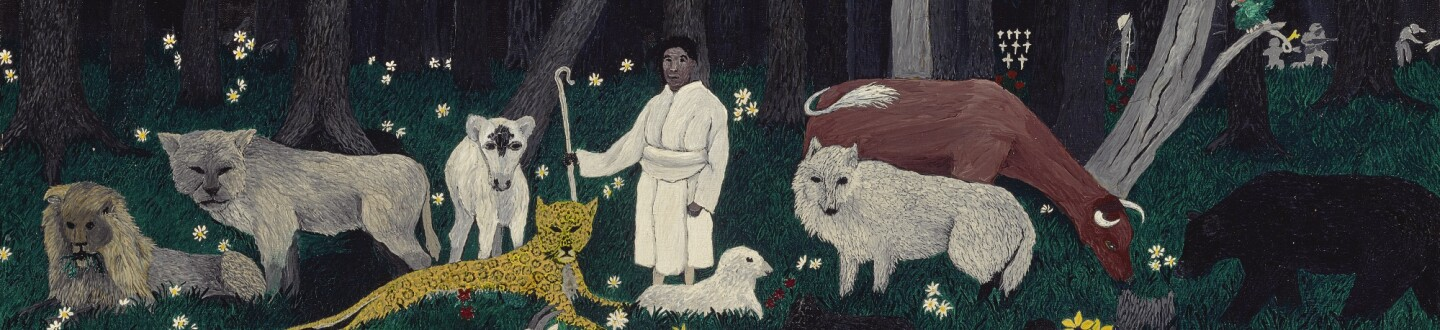 Image of a man with a staff, surrounded by animals in front of a woods.
