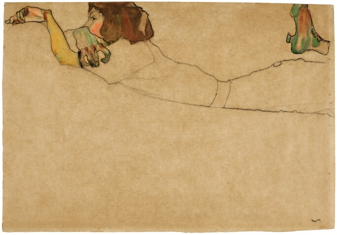 Egon Schiele Girl Reclining On Stomach