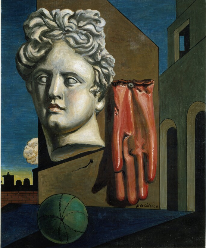 """Metaphysical composition with apollo head and rubber glove after """"The song of love"""" or """"Love Song"""". Painting by Giorgio de Chirico (1888-1978) Around 1950 Sun. 60x50 cm Florence, Galleria d\'Arte Moderna"""