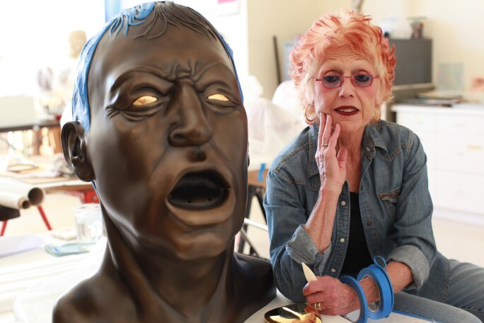 Artist Judy Chicago in studio.