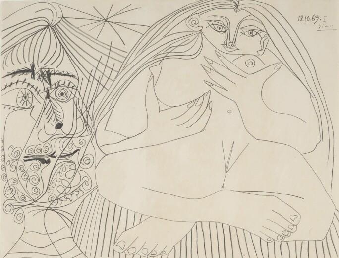 Lot 200, Pablo Picasso, Nu assis et tête, pencil on paper, 1969, Impressionist & Modern Art Day Sale November 13th, 2018, estimate $ 500,000-700,000.jpg