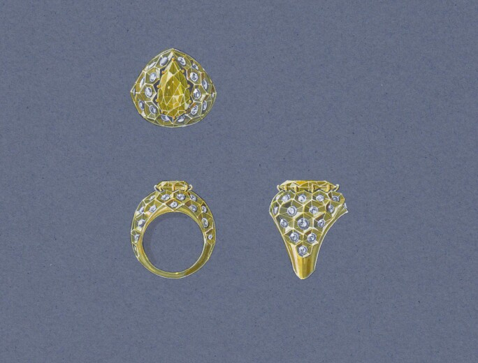 Honeycomb Ring centring a Fancy Intense Yellow pear-shaped diamond weighing 6.12 carats