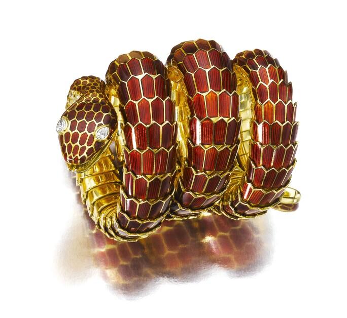 Gold, enamel and diamond bracelet,  Bulgari, 1960s. Estimate CHF 80,000-120,000.