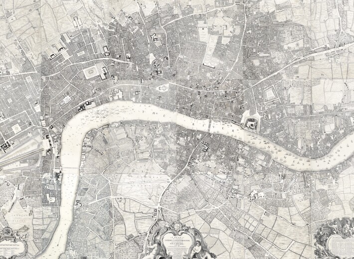 map of london, a plan by roque in an auction selling antique maps