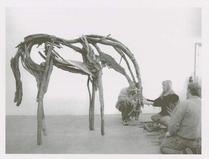 Deborah Butterfield working on a sculpture