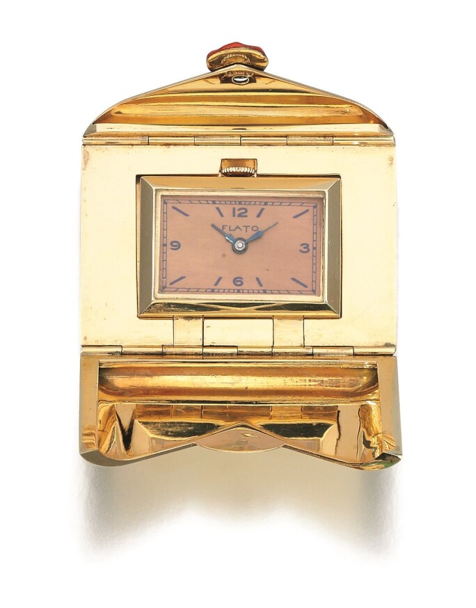 Enamel-travel-watch-Fred Astaire-Ginger-Rogers gold rectangle