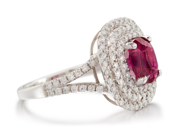 Ruby and diamond ring. Estimate £4,000–6,000