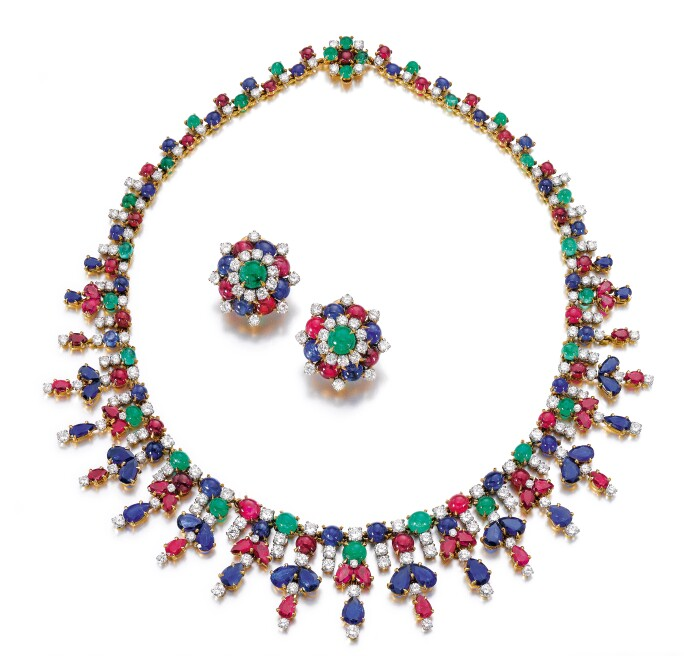 Gem set and diamond parure, Bulgari. Estimate CHF 80,000 — 120,000.