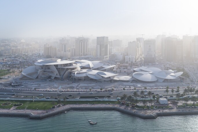 Arial view of the National Museum of Qatar.