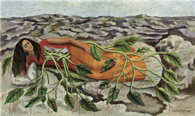 Frida Khalo on the ground in a red dress connected to the earth by vines.