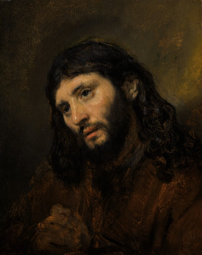 Rembrandt van Rijn, Study of the Head and Clasped Hands of a Young Man as Christ in Prayer