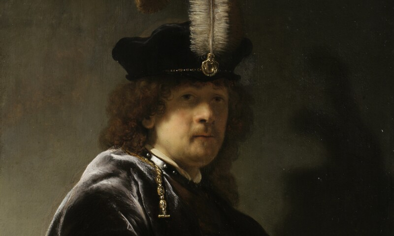 SELF PORTRAIT WEARING A WHITE FEATHERED BONNET by Rembrandt van Rijn.