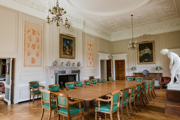 Lorimer Dining Room Marchmont House after restoration long table green chairs
