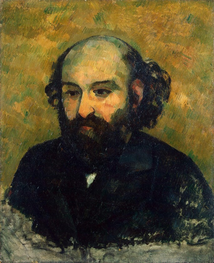 a 3/4 length self portrait of the artist cezanne with a bald head and dark blue or black suit jackets on a yellow green background