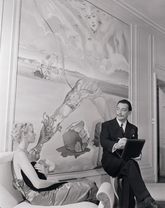 Salvador Dali Sketching Model Wearing His Jewelry