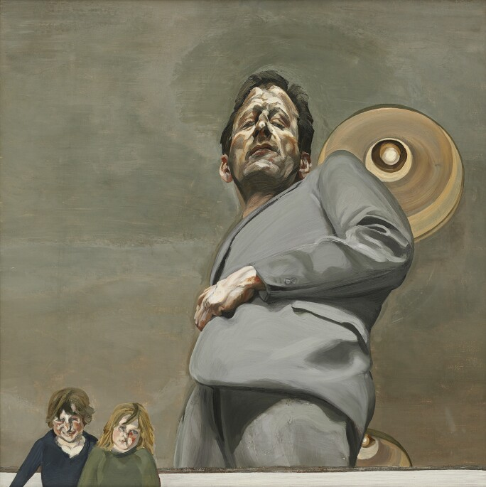 Painting of a man in the gray suit from below, to the left of him and the small images of two children.