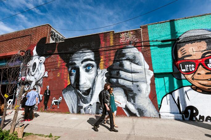 The Bushwick neighborhood in Brooklyn, New York City, is known for it's street art, graffiti murals, the Bushwick Collective.. Image shot 2015. Exact date unknown.