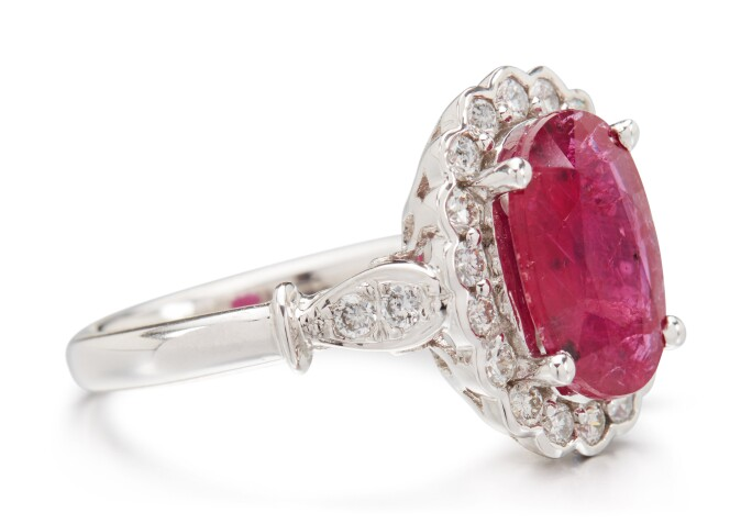 Ruby and diamond ring. Estimate £6,500–8,500