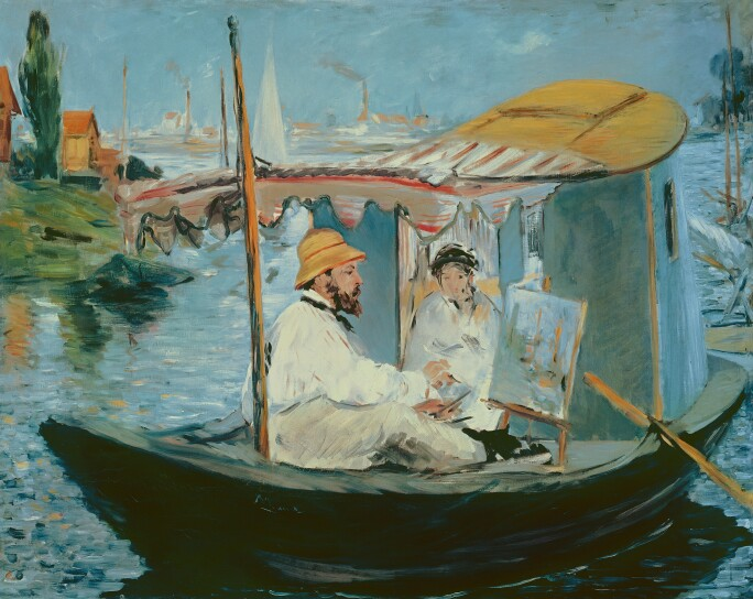A painting of Monet in his painting studio on his boat with a model and canvas.