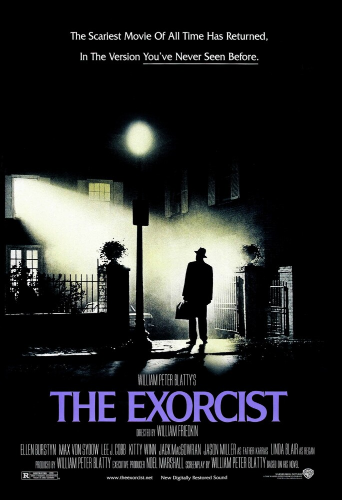 """Poster for """"The Exorcist"""" a 1973 American supernatural horror film starring Linda Blair and Max von Sydow. (Photo by: Universal History Archive/UIG via Getty images)"""